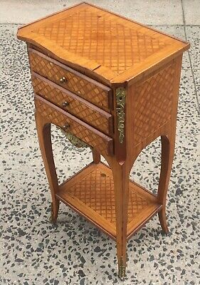 Vintage French Louis XV Style Bronze & PARQUETRY Inlaid Side TABLE NIGHTSTAND