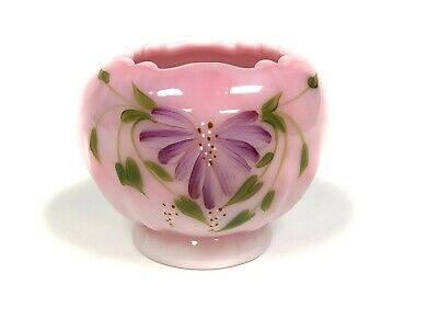 Fenton Glass Rosalene Hand Painted Floral Rose Candle Bowl