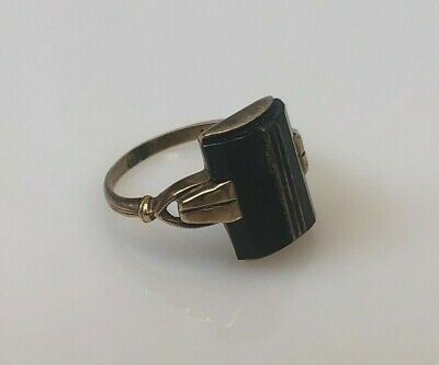 10K - Late 19th Century Antique Victorian Cut Onyx Signet Cocktail Ring Size 5.5