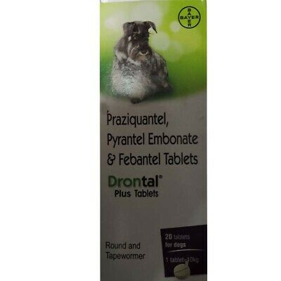Original Bayer Drontal Plus for Dogs 20 tablets Dewormer Roundworm Tapeworm