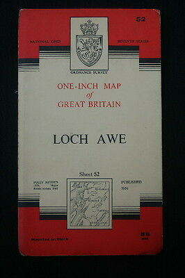 """OS Linen 1"""" Map LOCH AWE Sheet 52 1956 - Seventh Series - Looks Unused"""
