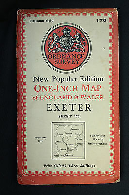 """OS Linen 1"""" Map EXETER Sheet 176 New Popular Edition 1946 Very Good Condition"""