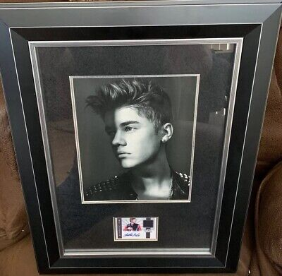 Justin Bieber Signed Autograph Panini Card Custom Framed Rare 8x10 Picture