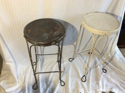 Vintage Twisted Metal Wire Ice Cream Parlor Stools Pair