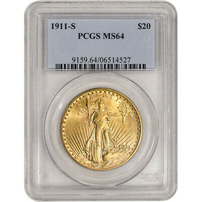 1911-S US Gold $20 Saint-Gaudens Double Eagle - PCGS MS64
