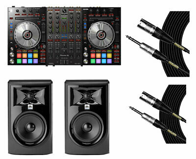 Pioneer DDJ-SX3 Serato DJ Controller + JBL 305P MkII Powered Speakers + Cables