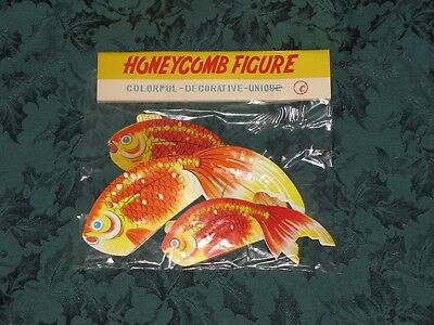 NOS Vintage GOLD FISH Honeycomb Decorations Japan Kitsch Paper- NEW Old Stock