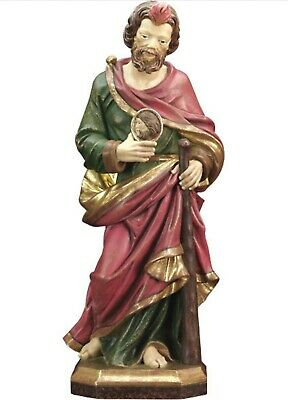 Statue St.Martin Thaddeus cm 20 Carved Wooden of Valgardena & Decorated by Hand