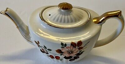 """Vtg GIBSON BRIXTON Teapot Gold Rimmed Floral STAFFORDSHIRE ENGLAND 5""""H 9""""W"""