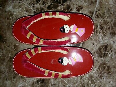 Vintage Rare 1940s Japanese Hand Painted Geisha Geta Wooden Shoes