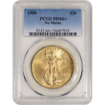 1908 No Motto US Gold $20 Saint-Gaudens Double Eagle - PCGS MS66+