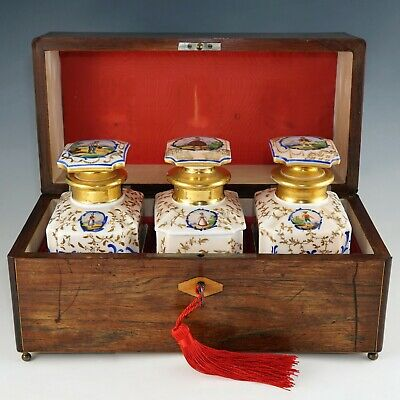 Antique French Rosewood Tea Caddy Box, Hand Painted Paris Porcelain Bottles