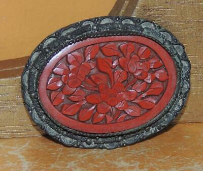 """Cinnabar Brooch / Pin 2""""x 1.5"""" red carved Silver Filigree marked China c1910"""