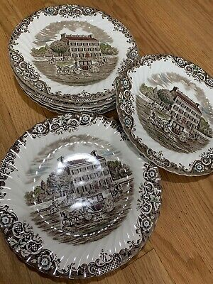 "Set/8 FRIENDLY VILLAGE Johnson Brothers 9 3/4"" Dinner Plates"