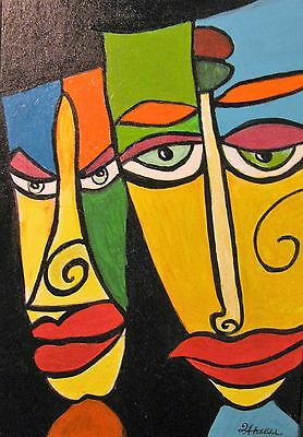 "C324  Original Acrylic Painting By Ljh   ""Abstract Faces"""