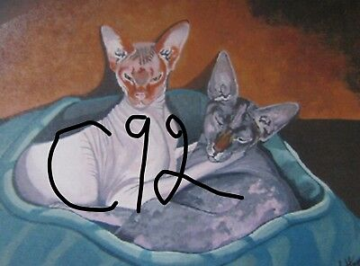 "C92    Original Acrylic Painting By Ljh   ""Smoochy & Monkey"" Two Sphynx Cats"