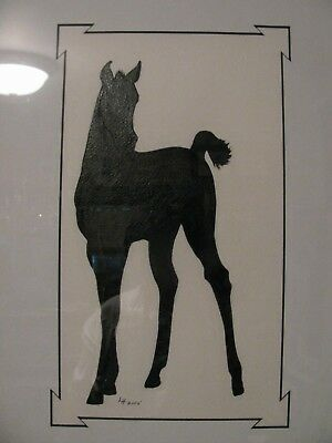 "C113  Original Acrylic Painting By Ljh   ""Silhouette""  Horse Foal"