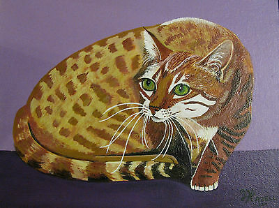 "C251      Original Acrylic Painting By Ljh     ""Stalking""   Bengal    Cat Kitten"