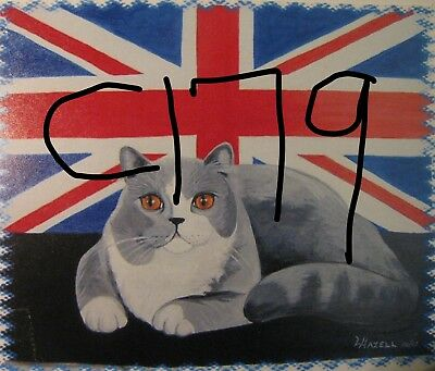 "C179  Original Acrylic Painting By Ljh  ""Teddy ""  British Shorthair  Cat  Kitten"