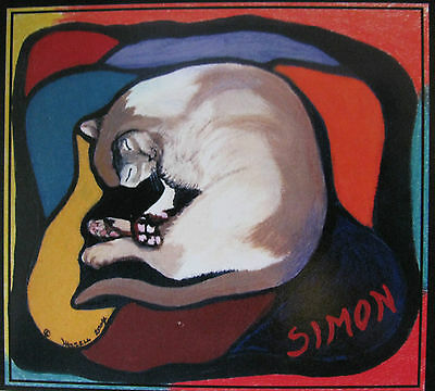"C67  Original Acrylic Painting By Ljh      ""Simon""         Cat     Kitten"