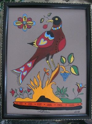 "C383    Original Acrylic Painting By Ljh     ""Folk Art Bird"""