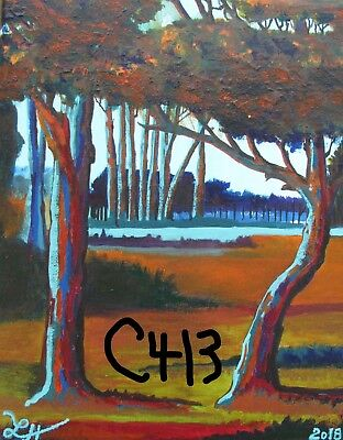 "P1-C413  Print Of Original Acrylic Painting By Ljh     ""Lake In Woods"""