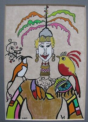 "C360      Original Acrylic  Painting By Ljh  ""Birds Of A Feather"""