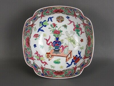 Vintage Trash Can Chinese Bowl Porcelain Hand-Painted Period Xx Century