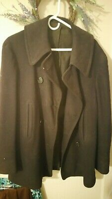 Vtg WWII WW2 USN Navy Peacoat Wool Deck Jacket 10 Button Pea Coat 1940s