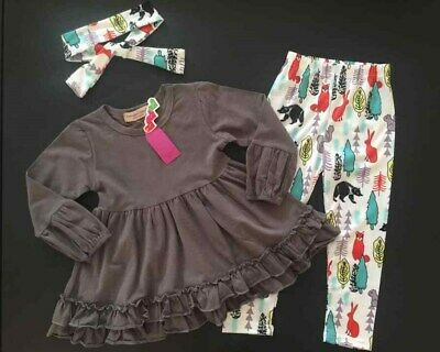 Darling Boutique Forest Critters Outfit 2T 5T 6T Fox Bear Rabbit Trees Gray