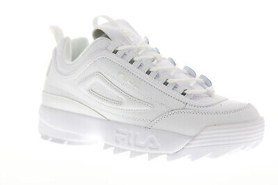 Fila Disruptor II Premium Mens White Leather Low Top Lace Up Sneakers Shoes 9.5