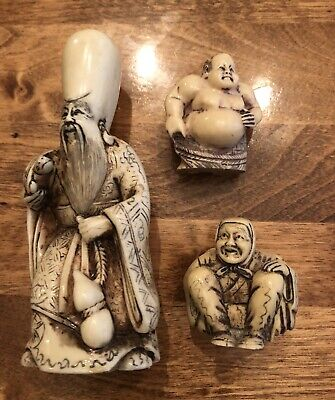 vintage old Oriental ,Asian , tall thin figurines statues chalkware