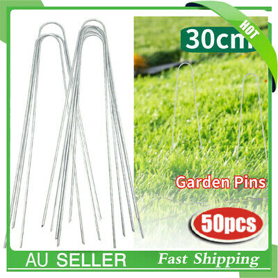 50Pcs 30CM Anchor U Grass Pins Pegs Weed Mat Turf Lawn Tent Fixing in Ground