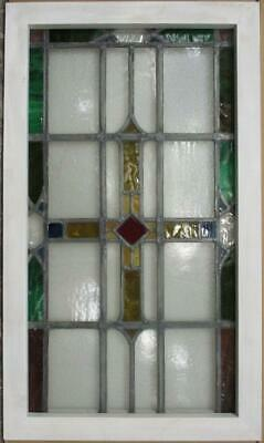 "MIDSIZE OLD ENGLISH LEADED STAINED GLASS WINDOW Nice Geometric Cross 19.5"" x 33"""