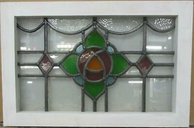 "OLD ENGLISH LEADED STAINED GLASS WINDOW Gorgeous Mackintosh Rose 20.25"" x 13.5"""