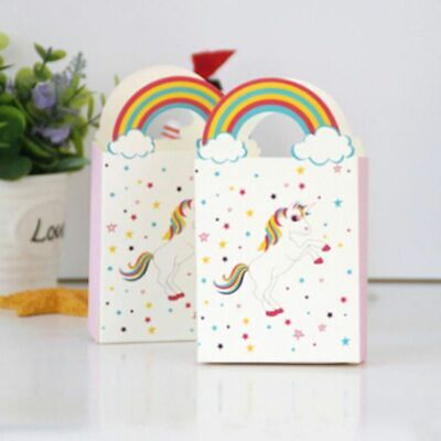 Candy Gift Bags 10pcs With Rainbow Handles Children Birthday Party Decoration
