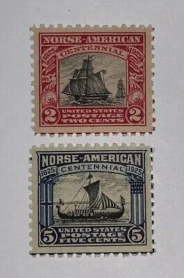 Travelstamps: 1925 US Stamps Scott #s 620 & 621, Norse-American, mint, og, mogh