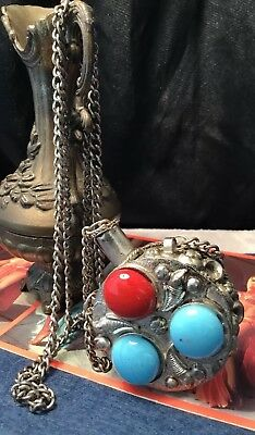 Vintage tribal silver turquoise coral glass bead perfume snuff bottle necklace