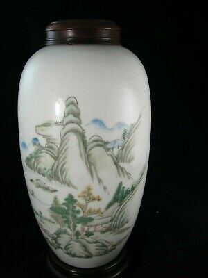 Antique Chinese Porcelain Jar Landscape Republican Period w. Wood Lid and Stand