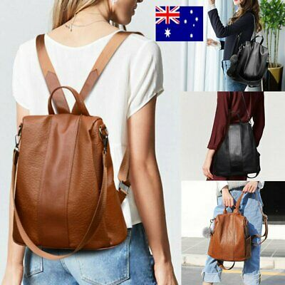 AU Women's Leather Backpack Anti-Theft Rucksack School Shoulder Bag Black/BrownC