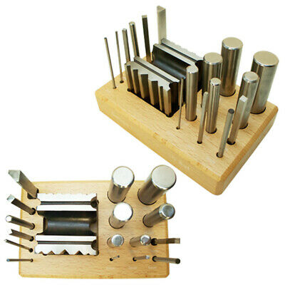 18 PC Swage Doming Dapping Block Round Square Metal Forming Puncher