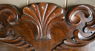 "Vtg Architectural Wood Tiger Oak PEDIMENT HEADER Mantel Salvage 40x7.5"" Carved"