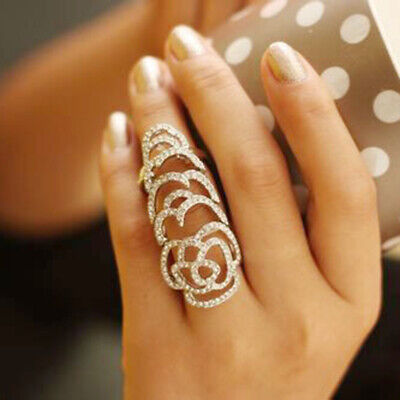 Fashion Rhinestone Full Finger Armor Joint Knuckle Hollow Out Rose Flower Ring