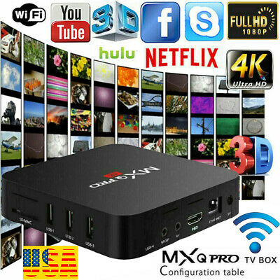 1080P TV Box Android 7.1 Quad Core Smart HDMI WIFI KODI 17.6 MXQ Pro 4K 3D 64Bit