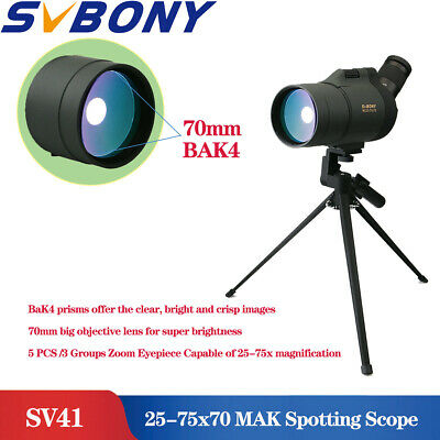 SV41 25-75x70mm MAK BaK4 Spotting Scopes Monocular IPX7 Spotting Scopes+Tripod