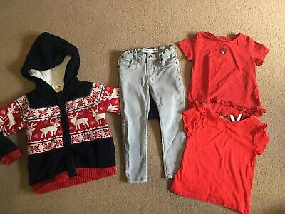 GIRLS BUNDLE 4x ITEMS HOODY GREY JEANS NEXT RED TSHIRTS TOPS CUTE SIZE AGE 3 4