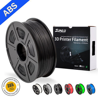 SUNLU 3D ABS Printer Filaments 1.75mm 2.2LBS/1KG with Spool Black  Filament