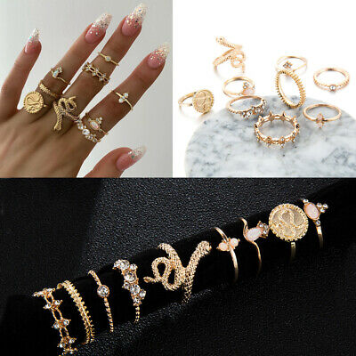 Geometric Rhinestones Knuckle Midi Opal  Boho Ring Set Snake Finger Rings