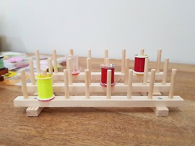 Fly tying bobbin holder, desk tidy, wooden 24 thread holder.