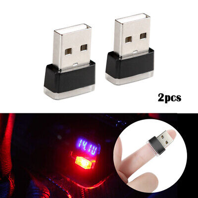 2x Red Mini USB LED Car Auto Interior Light Neon Atmosphere Ambient Lamps